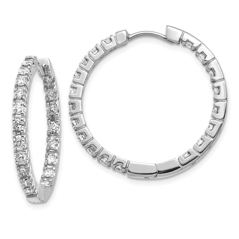 Quality Gold 14k White Gold AA Diamond Hinged Hoop Earrings