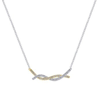 14k Yellow/White Gold Twisted Diamond Bar Necklace