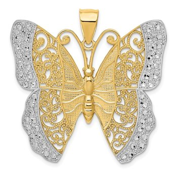 14k w/ Rhodium Solid Polished Diamond-cut Filigree Butterfly Pendant