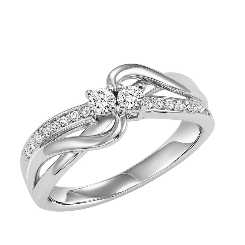 Twogether 14K Diamond Two Stone Ring 1/4 ctw