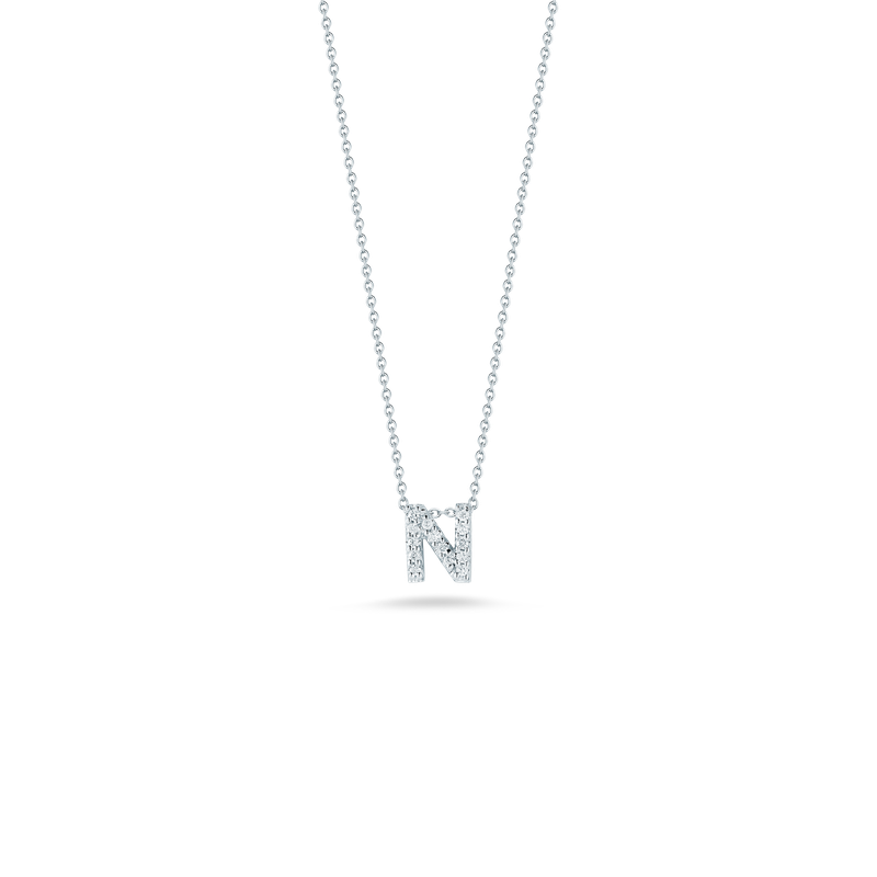 Roberto Coin 18Kt Gold Love Letter N Pendant With Diamonds