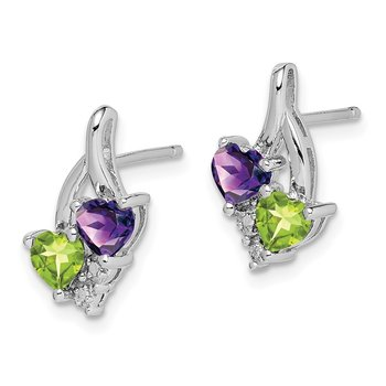 Sterling Silver Rhodium-plated Amethyst Peridot Diamond Earrings