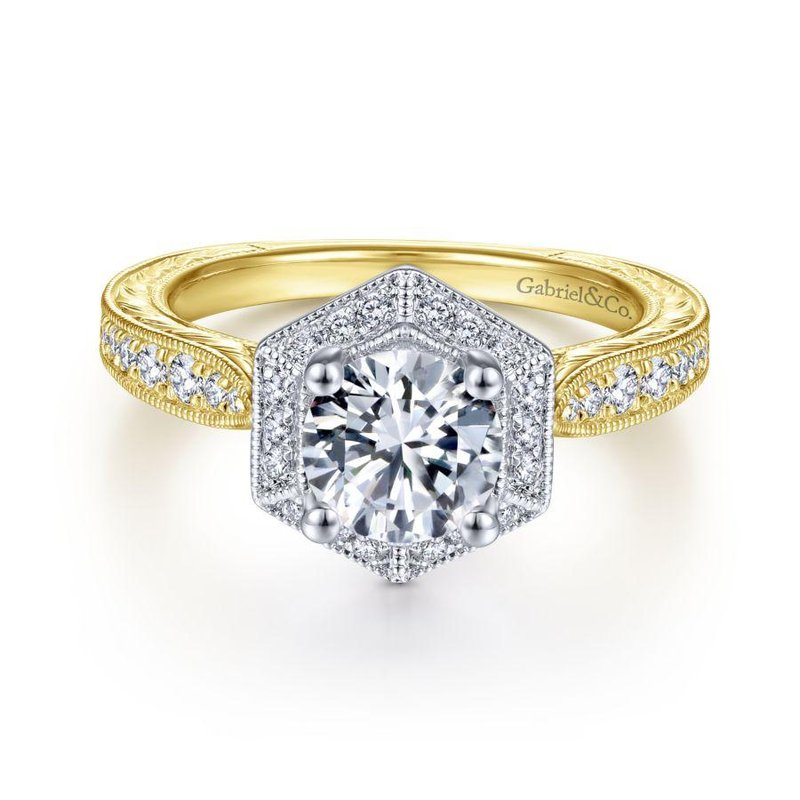 Gabriel Bridal Art Deco 14K White-Yellow Gold Hexagonal Halo Round Diamond Engagement Ring