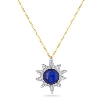 14K STARFISH PENDANT WITH 98 DIAMONDS 0.40CT, LAPIS 0.80CT & CRYSTAL  2.40CT  18 INCHES CHAIN, STARFISH 25MM BY 20MM