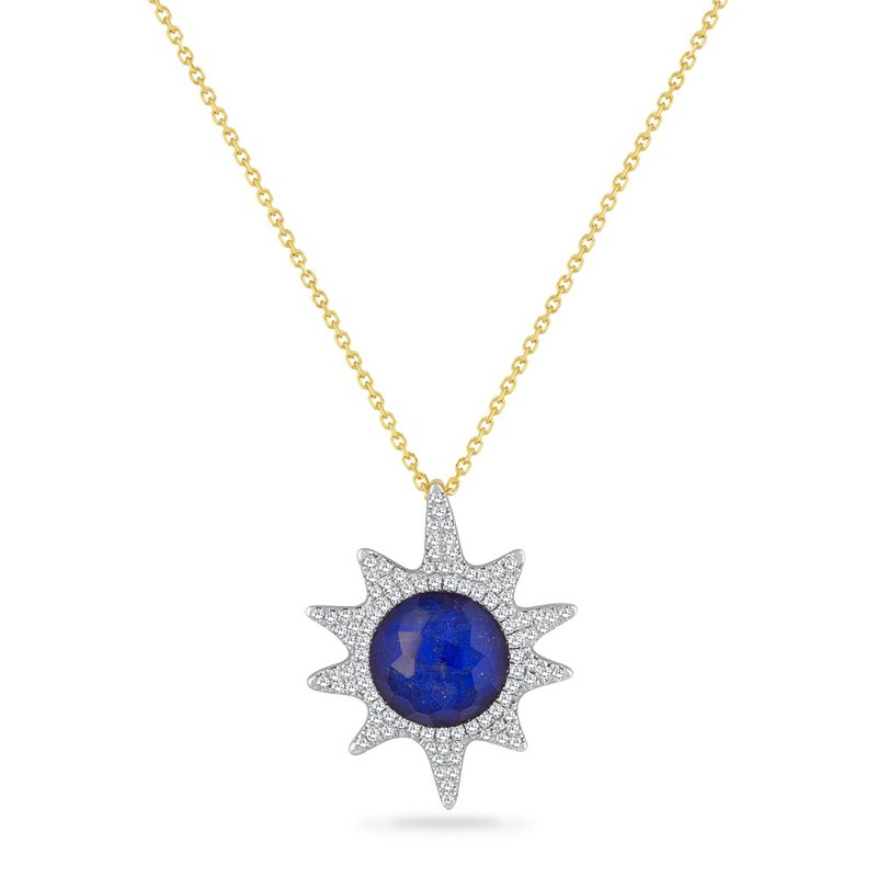 Shula NY 14K STARFISH PENDANT WITH 98 DIAMONDS 0.40CT, LAPIS 0.80CT & CRYSTAL  2.40CT  18 INCHES CHAIN, STARFISH 25MM BY 20MM