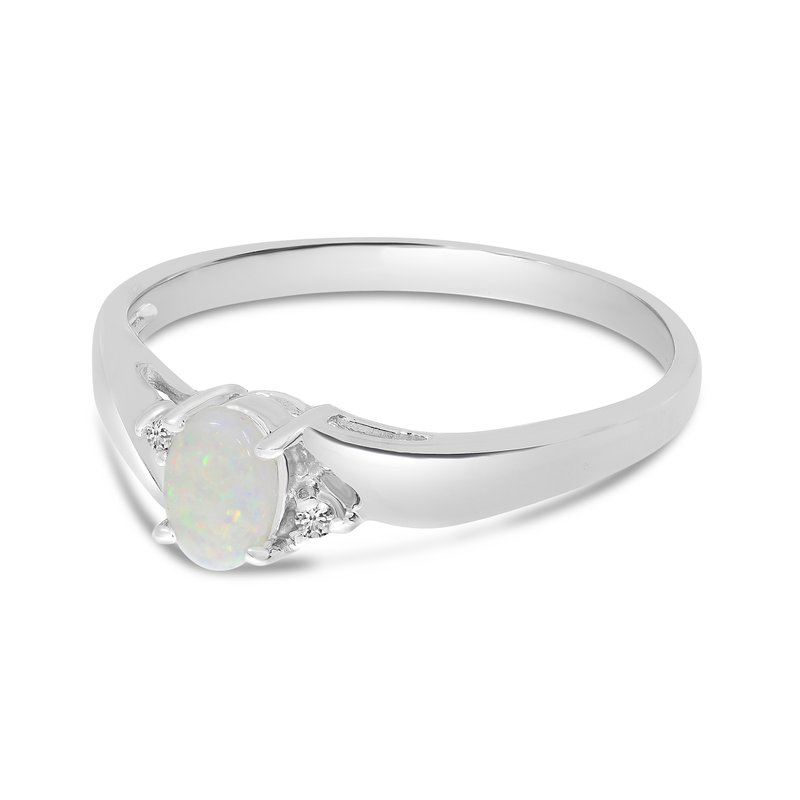Color Merchants 14k White Gold Oval Opal And Diamond Ring