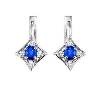 14K White Gold Color Ensembles Prong Sapphire Earrings 1/1(2 ct. tw.)