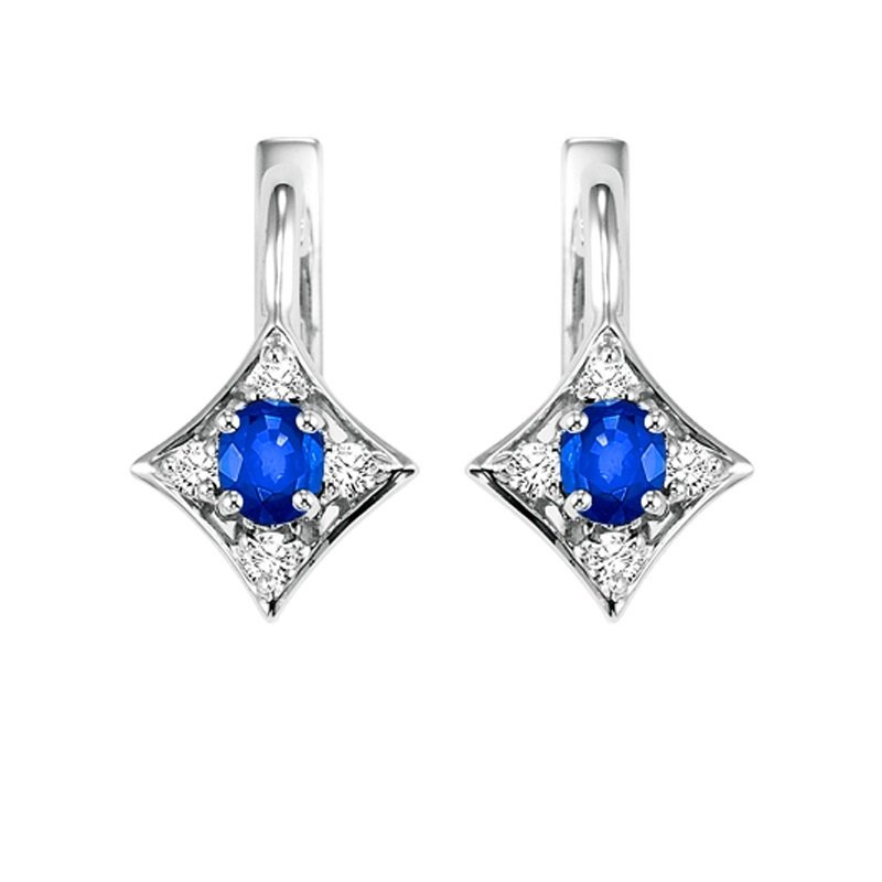 Gems One 14K White Gold Color Ensembles Prong Sapphire Earrings 1/1(2 ct. tw.)