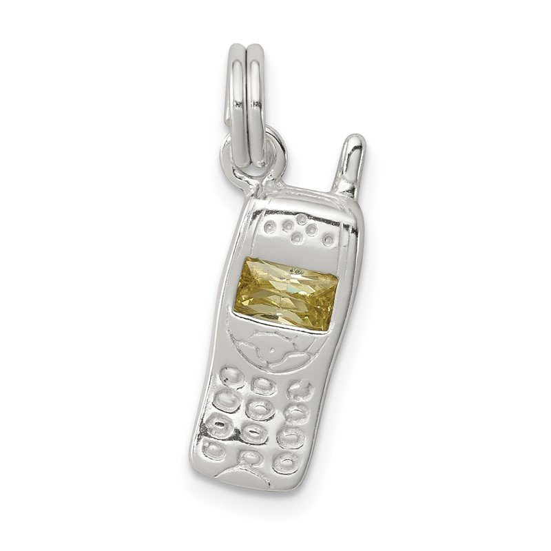 Quality Gold Sterling Silver Green CZ Cell Phone Charm