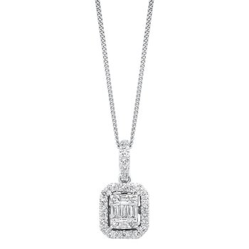 Diamond Rectangular Halo Drop Pendant Necklace in 14k White Gold (3/4ctw)