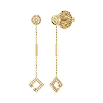 Straight Lace Street Earrings in 14 KT Yellow Gold Vermeil on Sterling Silver