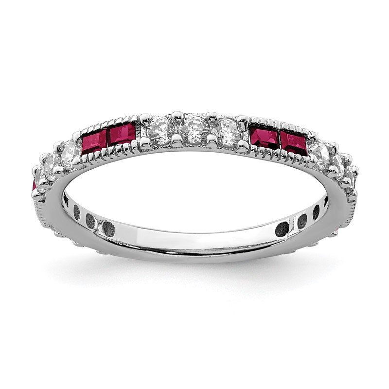 Quality Gold Sterling Silver Rhodium-plated Created Ruby & Round CZ Band