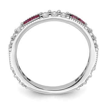 Sterling Silver Rhodium-plated Created Ruby & Round CZ Band