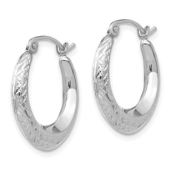 14K White Gold Madi K Textured Hollow Hoop Earrings