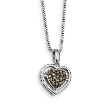 Sterling Silver Rhod Plated Champagne Diamond Heart Pendant Necklace
