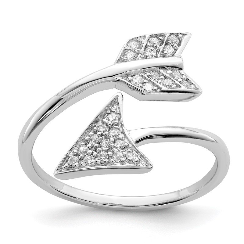 Quality Gold Sterling Silver Rhodium-plated Adjustable Polished CZ Arrow Ring