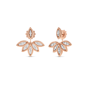 Diamond Stud Earrings With Fan Jacket &Ndash; 18K Rose Gold