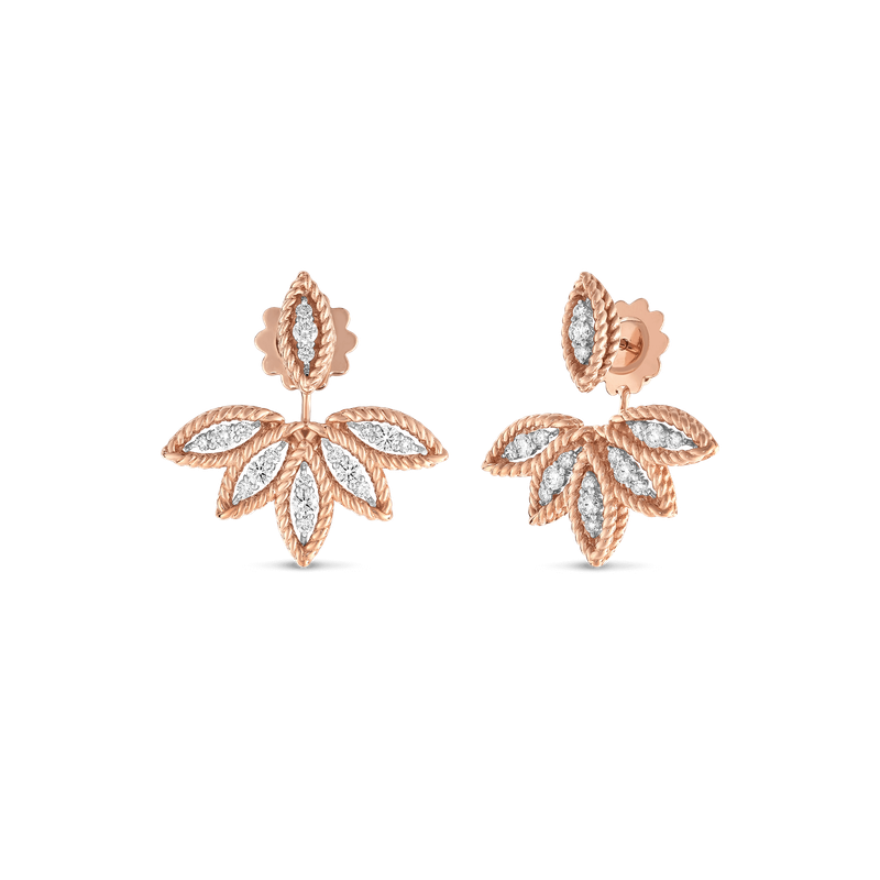 Roberto Coin Diamond Stud Earrings With Fan Jacket &Ndash; 18K Rose Gold