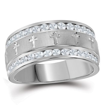 14k White Gold Mens Round Diamond Grecco Christian Cross Wedding Anniversary Band Ring 1.00 Cttw