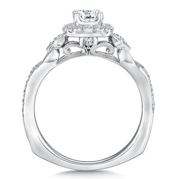 Cushion shape halo mounting .37 ct. tw., 3/8 ct. round center.