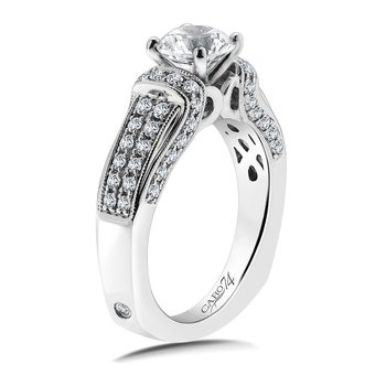 Diamond Engagement Ring Mounting in 14K White Gold with Platinum Head (.55 ct. tw.)