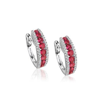Diamond-Lined Ruby Fashion Hoops