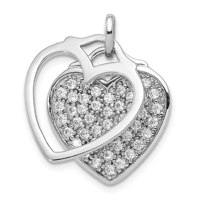 Quality Gold Sterling Silver Rhodium-plated CZ Two Piece Heart Pendant