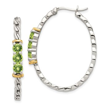 Sterling Silver w/ 14K Accent Peridot Hoop Earrings