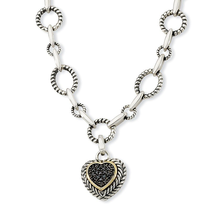 Shey Couture Sterling Silver w/14k Black Diamond Heart Drop Necklace