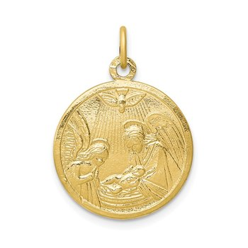 10k Solid Satin Polished Baptism Disc Pendant