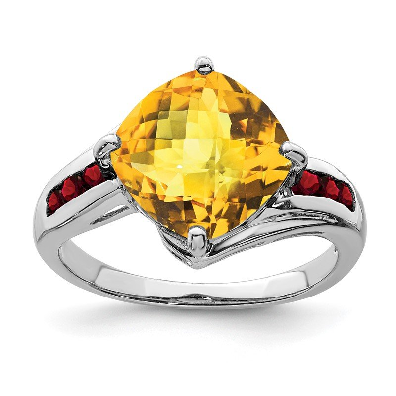Quality Gold Sterling Silver Rhodium Citrine & Garnet Ring