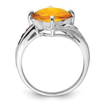 Sterling Silver Rhodium Citrine & Garnet Ring