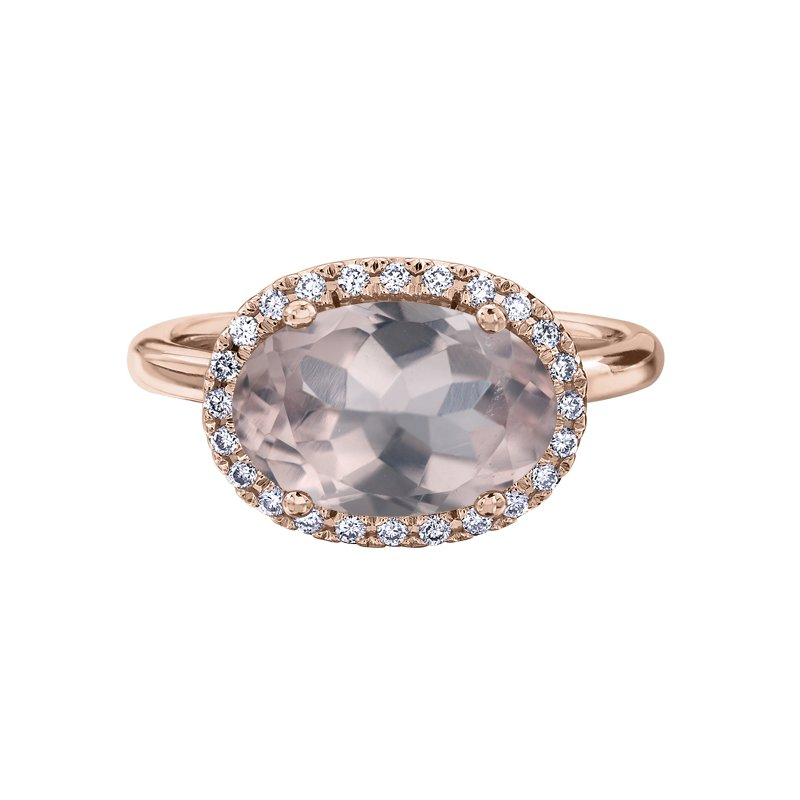 Diamond Days Rose Quartz Ladies Ring