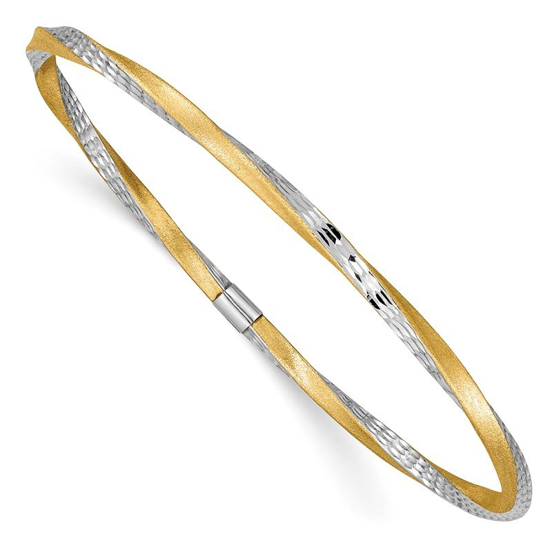 Quality Gold 14k and White Rhodium 3mm Satin Diamond-cut Twist Slip-on Bangle