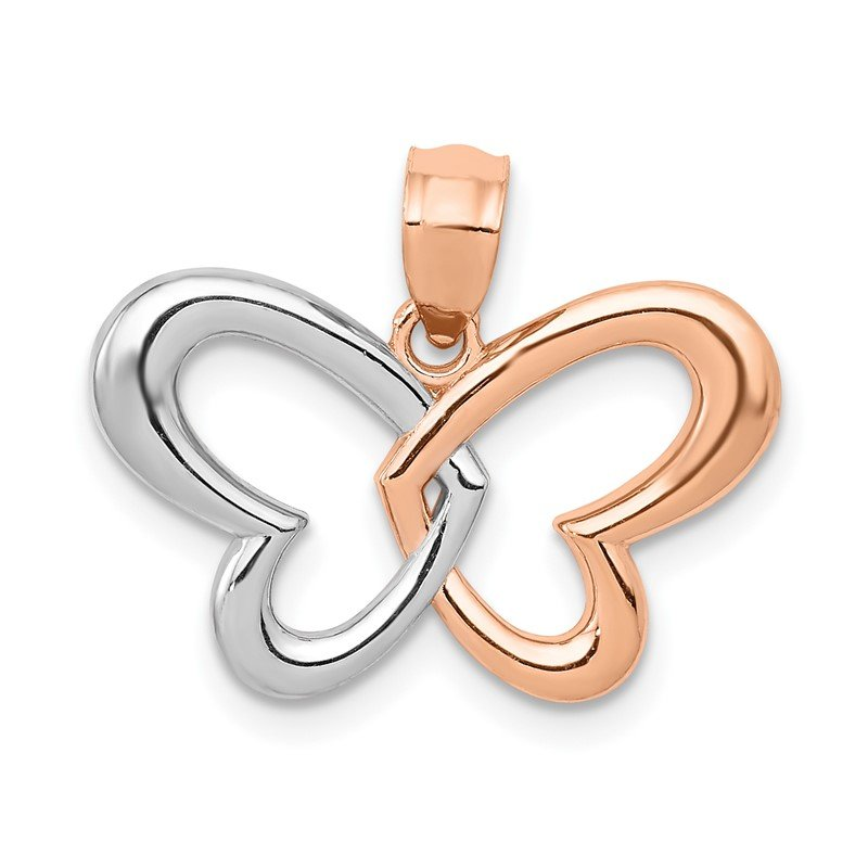 Quality Gold 14k Rose Gold w/Rhodium Butterfly Pendant