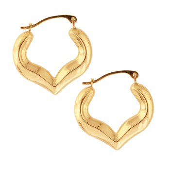 10K Gold Half Heart Hoop Earring