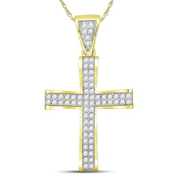 10kt Yellow Gold Mens Round Diamond Roman Cross Charm Pendant 1.00 Cttw