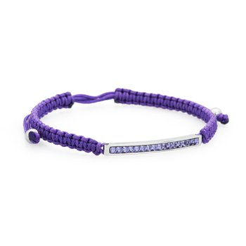 Bracelet. 316L stainless steel, purple cotton macramé cord and tanzanite Swarovski® Elements crystals