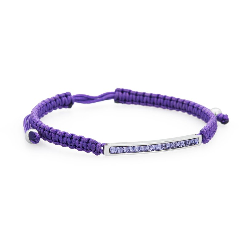 Brosway Bracelet. 316L stainless steel, purple cotton macramé cord and tanzanite Swarovski® Elements crystals