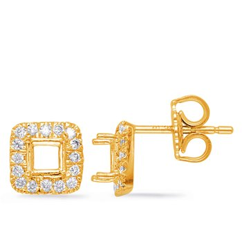 Yellow Gold Diamond Earring for 4mm