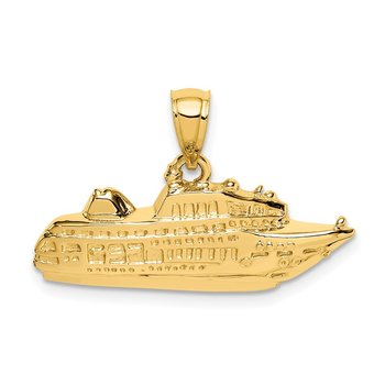 14K Polished Cruise Ship Pendant