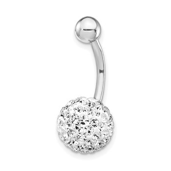 10k White Gold W/10mm White Crystal Ball Belly Dangle