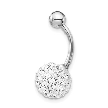 10K White Gold with10mm White Crystal Ball Belly Dangle