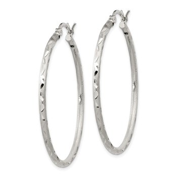 Sterling Silver Satin Diamond-cut 2x40mm Hoop Earrings