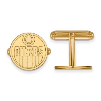 Gold-Plated Sterling Silver Edmonton Oilers NHL Cuff Links