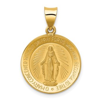 14k Polished and Satin Miraculous Medal Hollow Pendant
