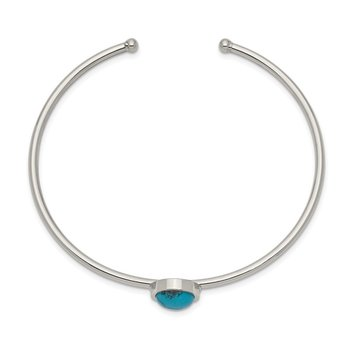 Stainless Steel Polished w/Reconstructed Turquoise Flexible Cuff Bangle