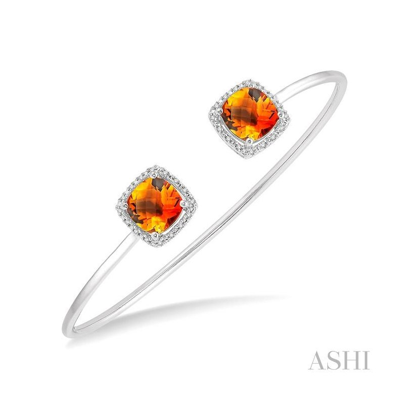 ASHI  silver gemstone & diamond bangle