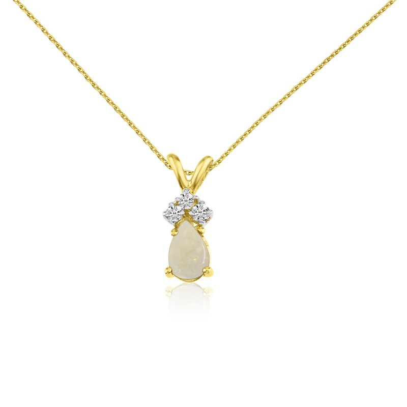 Color Merchants 14k Yellow Gold Opal Pear Pendant with Diamonds