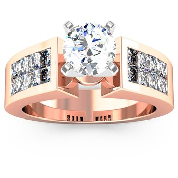 Invisible Princess Cut Diamond Engagement Ring